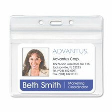 Resealable Id Badge Holder, Horizontal, 3 3/4W X 2 5/8H, 50/Pack