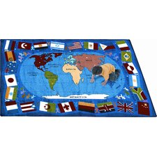 Educational Flags of the World Kids Rug
