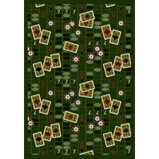 Gaming and Entertainment Feeling Lucky Emerald Novelty Rug