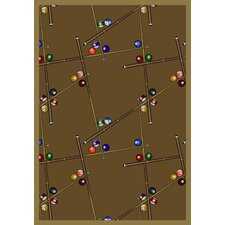 Gaming and Entertainment Snookered Dark Rust Novelty Rug