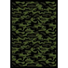 Whimsy Funky Camo Camouflage Green Rug