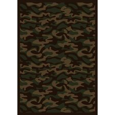 Whimsy Funky Camo Camouflage Dark Army Rug