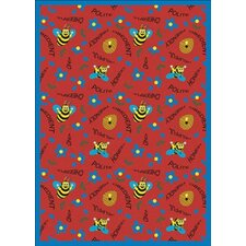 Educational Bee Attitudes Red Area Rug