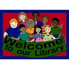 Educational Welcome to Our Library Kids Rug