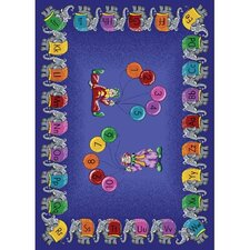 Educational Circus Elephant Parade Kids Rug