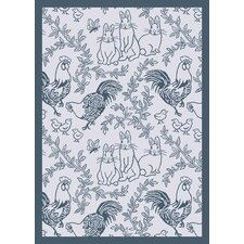 Nature Feathers and Fur Blue Kids Rug