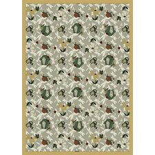 Nature Taupe Flower Gardens Novelty Rug