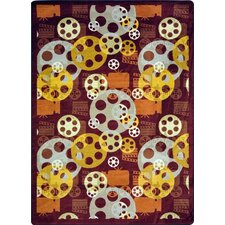 <strong>Joy Carpets</strong> Gaming and Entertainment Blockbuster Burgundy Novelty Rug