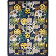 <strong>Joy Carpets</strong> Gaming and Entertainment Blockbuster Navy Novelty Rug