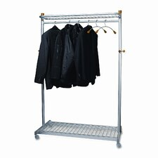 "Alba 72""H x 45.6""W x 22""D Two-Sided Two-Shelf Garment Rack"