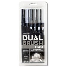 Dual Brush Grayscale Pen (Set of 6)