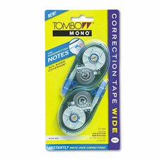 "Mono Wide Width Correction Tape, Non-Refillable, 1/4"" x 394"", White, Two/pack"