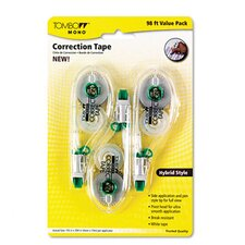 "Mono Hybrid-Style Correction Tape, Non-Refillable, 1/6"" X 394"", 3/Pack"