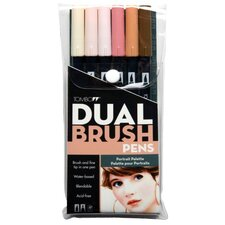 Dual Brush Portrait Pen (Set of 6)
