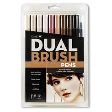 Dual Brush Pen Marker Set - 10 Portrait Colors