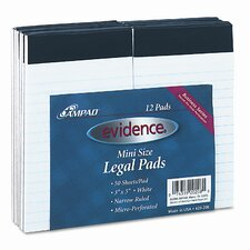 Evidence Perforated Top, Narrow/Red Margin Rule, 3 x 5, White, 50 Sheets, 12-Pack