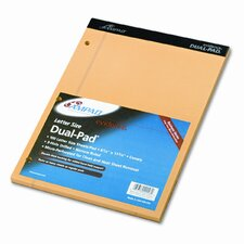 Evidence Dual Rule Narrow/Margin Pad, 8-1/2 X 11-3/4, 100 Sheets