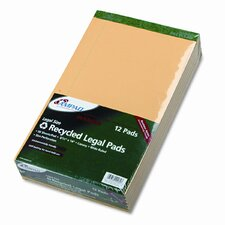 Evidence Recycled Perf Top, Legal/Margin Rule, Legal, 50-Sheet Pad, 12/Pack