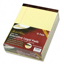 Gold Fibre Ruled Pad, Legal/Wide Rule, Letter, Canary, 50 Sheets, 12-Pack