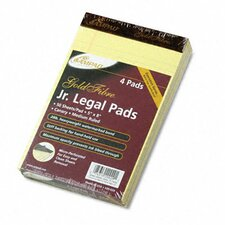 Gold Fibre Writing Pads, Jr. Legal Rule, 5 X 8, 4 50-Sheet Pads/Pack