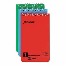 Wirebound Pocket Memo Book, College/Narrow Rule, 3 x 5, WE, 60-Sheet, 3/pk
