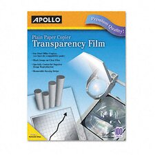 Plain Paper Copier Transparency Film, Removable Sensing Stripe, 100/Box
