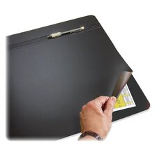 "Hide-Away Desk Pad,w/ 2 Channel Pen Holder,19""x24"",Black"