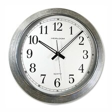 "Wall Clock, Galvanized Metal, 16"", Silver"