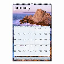 Scenic Full-Color Photographic Monthly Wall Calendar, 15-1/2 x 22-3/4, 2013
