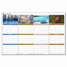 Seasons in Bloom Erasable/Reversible Quarterly Yearly Wall Calendar, 24 x 36, 2013