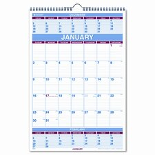 Three-Months-per-Page Wall Calendar, Ruled Daily Blocks, 15-1/2 x 22-3/4, 2013