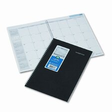 Ruled 14-Month Planner with Two-Piece Cover, 7-7/8 x 11-7/8, Black