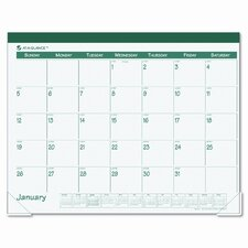 Fashion Color Monthly Desk Pad Calendar, 22 x 17, Green, 2013