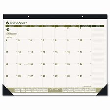 Recycled Monthly Two-Color Desk Pad Calendar, 12 Month (Jan-Dec), 22 x 17, 2013