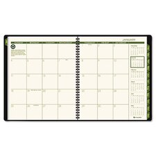 Recycled Monthly Professional Planner, 13 Months (Jan-Jan), Green Cover, 2014