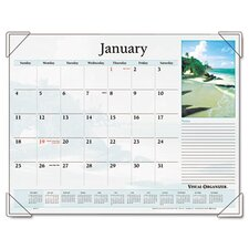 Scenic Full-Color Photographic Monthly Desk Pad Calendar, 22 x 17, 2013