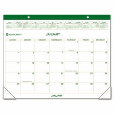 Two-Color Monthly Desk Pad/Wall Calendar, 22 x 17, 2014