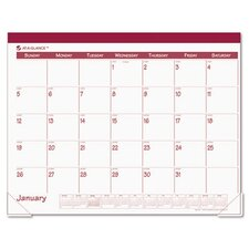 Fashion Color Monthly Desk Pad Calendar, 22 x 17, Rose, 2013