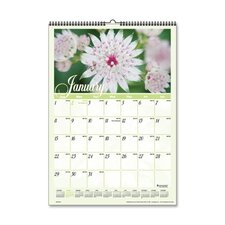 "Monthly Wall Calendar,Jan-Dec,Flower Scenes,12""x17, 2013"