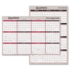 Reversible Write-On/Wipe-Off Quarterly Format Yearly Planner, 24 x 36, 2012