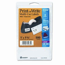 Print or Write Removable Multi-Use Labels, 500/Pack