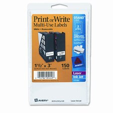 Print or Write Removable Multi-Use Labels, 1-1/2 X 3, 150/Pack