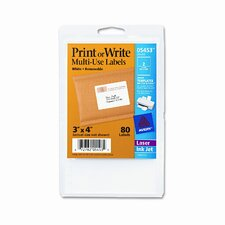 Print or Write Removable Multi-Use Labels, 80/Pack