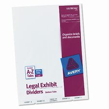 Avery-Style Legal Bottom Tab Divider with A-Z Tabs