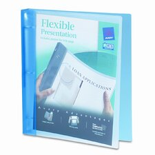 Flexible Round Ring Presentation Binder, 1in Capacity, Blue