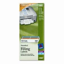 File Folder Labels On Mini-Sheets, 2/3 X 3-7/16, 300/Pack