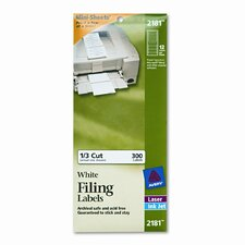 File Folder Labels On Mini-Sheets, 2/3 X 3-7/16, 300/Pack