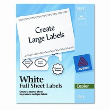 Self-Adhesive Full-Sheet Shipping Labels for Copiers, 100/Box