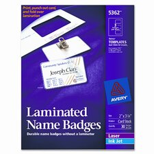 Self-Laminating Laser/Inkjet Printer Badges, 30/Box