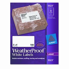 White Weatherproof Laser Shipping Labels, 500/Pack